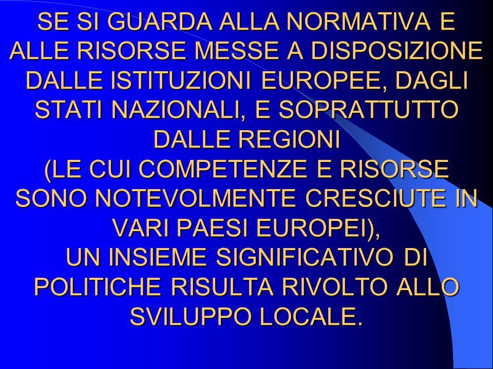 SE SI GUARDA ALLA NORMATIVA E ALLE RISORSE MESSE A DISPOSIZIONE DALLE ISTITUZIONI EUROPEE, DAGLI STATI NAZIONALI, E SOPRATTUTTO DALLE REGIONI (LE CUI COMPETENZE E RISORSE SONO NOTEVOLMENTE CRESCIUTE IN VARI PAESI EUROPEI), UN INSIEME SIGNIFICATIVO DI POLITICHE RISULTA RIVOLTO ALLO SVILUPPO LOCALE.