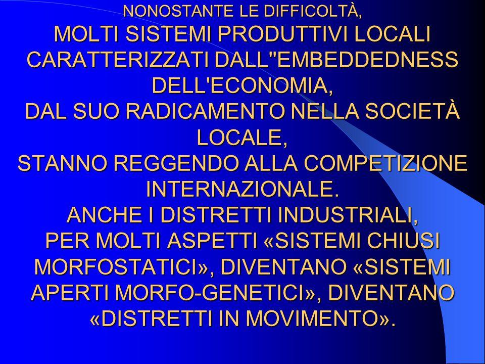 NONOSTANTE LE DIFFICOLTÀ, MOLTI SISTEMI PRODUTTIVI LOCALI CARATTERIZZATI DALL EMBEDDEDNESS DELL ECONOMIA, DAL SUO RADICAMENTO NELLA SOCIETÀ LOCALE, STANNO REGGENDO ALLA COMPETIZIONE INTERNAZIONALE.