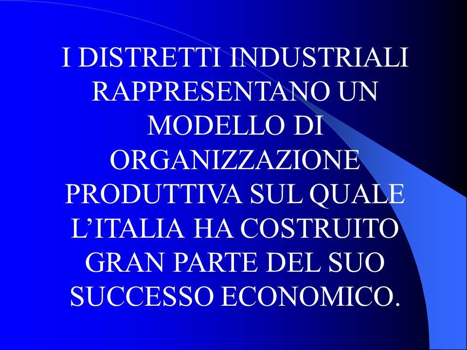 I DISTRETTI INDUSTRIALI RAPPRESENTANO UN MODELLO DI ORGANIZZAZIONE PRODUTTIVA SUL QUALE L'ITALIA HA COSTRUITO GRAN PARTE DEL SUO SUCCESSO ECONOMICO.