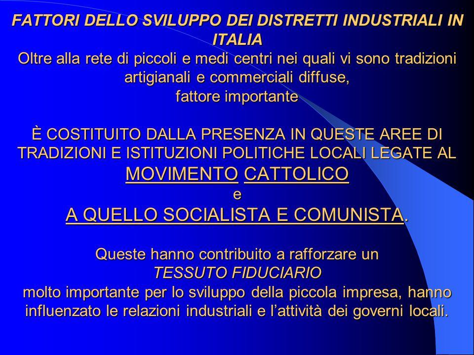 FATTORI DELLO SVILUPPO DEI DISTRETTI INDUSTRIALI IN ITALIA Oltre alla rete di piccoli e medi centri nei quali vi sono tradizioni artigianali e commerciali diffuse, fattore importante È COSTITUITO DALLA PRESENZA IN QUESTE AREE DI TRADIZIONI E ISTITUZIONI POLITICHE LOCALI LEGATE AL MOVIMENTO CATTOLICO e A QUELLO SOCIALISTA E COMUNISTA.