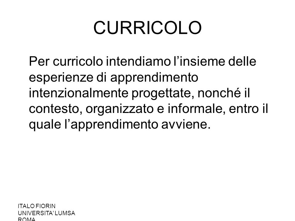 CURRICOLO