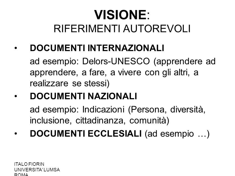 VISIONE: RIFERIMENTI AUTOREVOLI