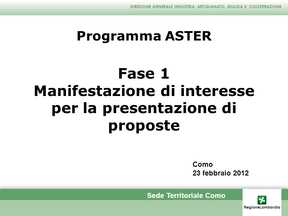Manifestazione di interesse per la presentazione di proposte