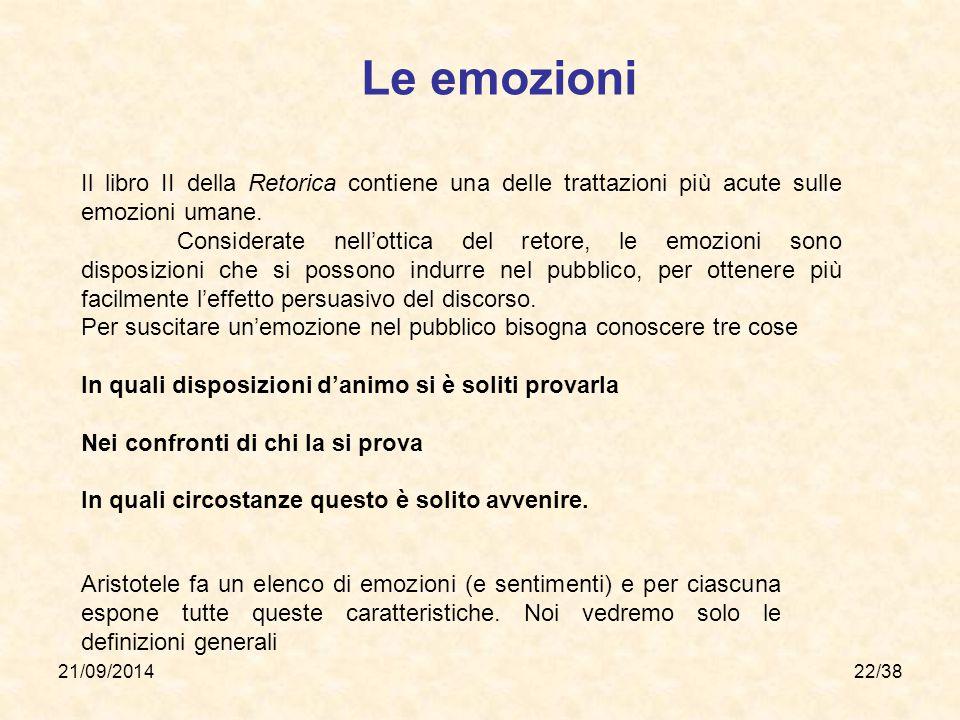 Le emozioni Il libro II della Retorica contiene una delle trattazioni più acute sulle emozioni umane.
