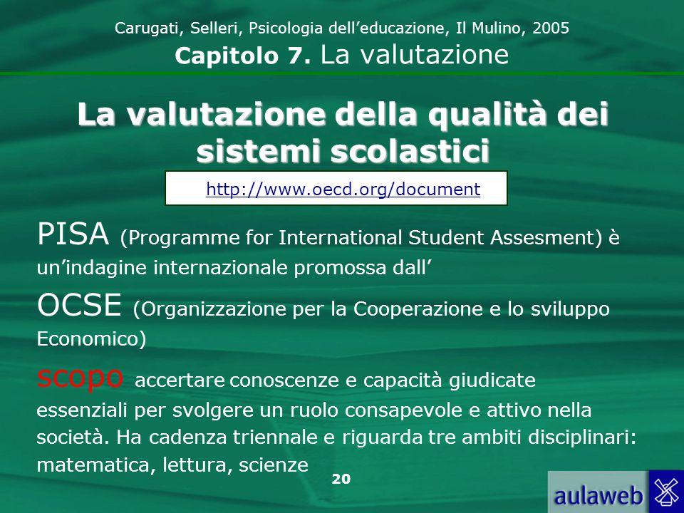 La valutazione della qualità dei sistemi scolastici