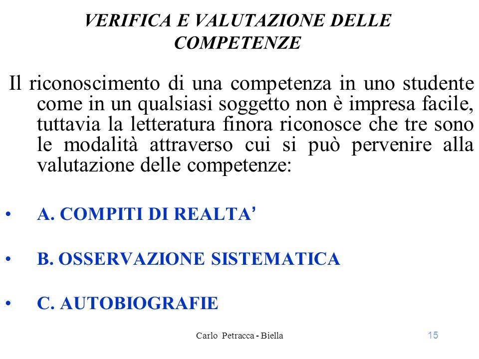 VERIFICA E VALUTAZIONE DELLE COMPETENZE