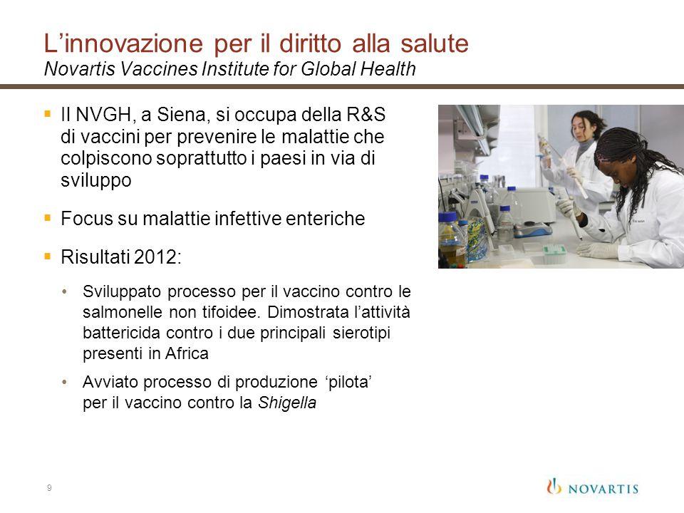 L'innovazione per il diritto alla salute Novartis Vaccines Institute for Global Health
