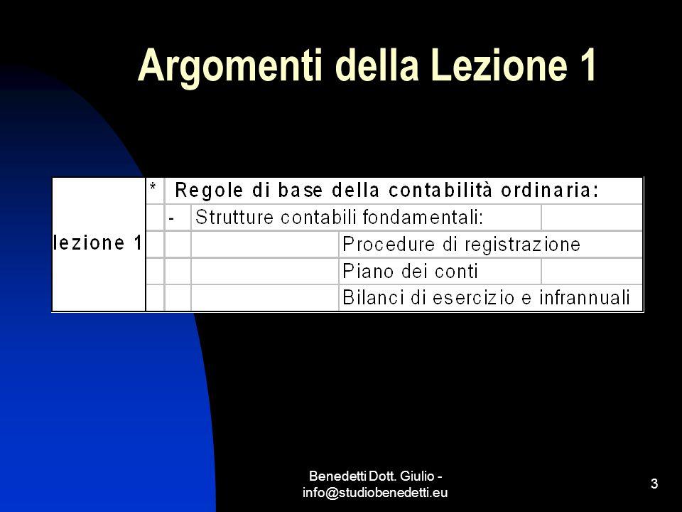 Argomenti della Lezione 1