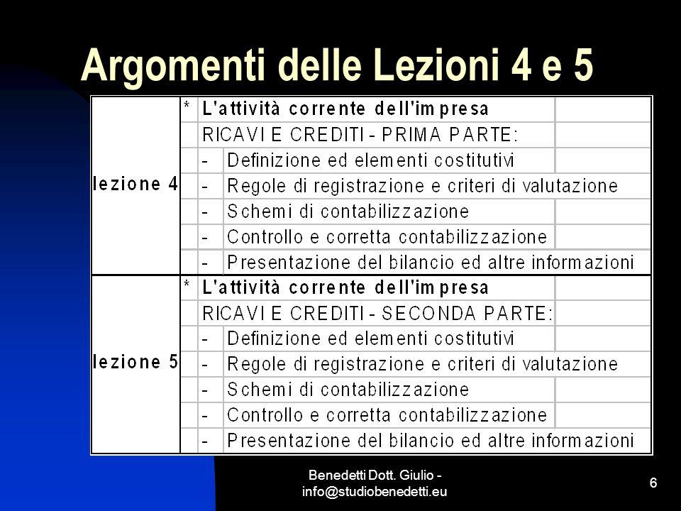 Argomenti delle Lezioni 4 e 5