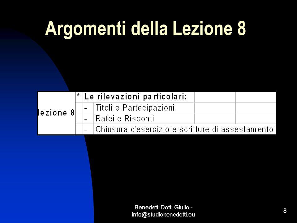 Argomenti della Lezione 8