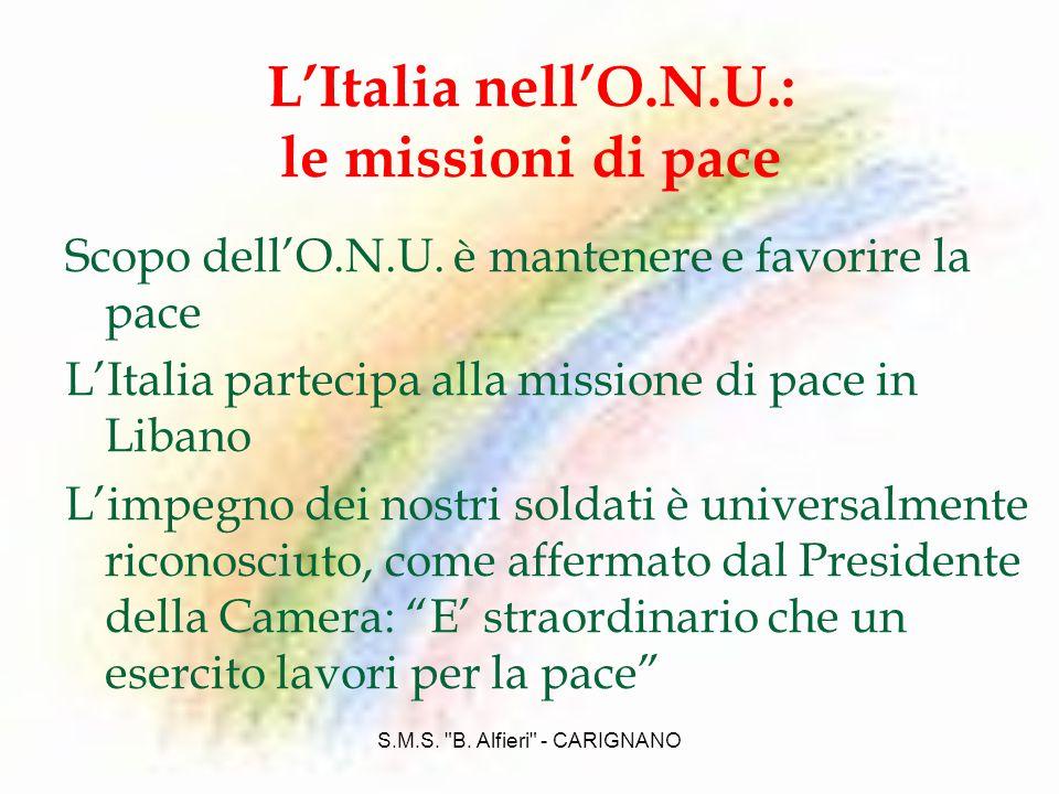 L'Italia nell'O.N.U.: le missioni di pace