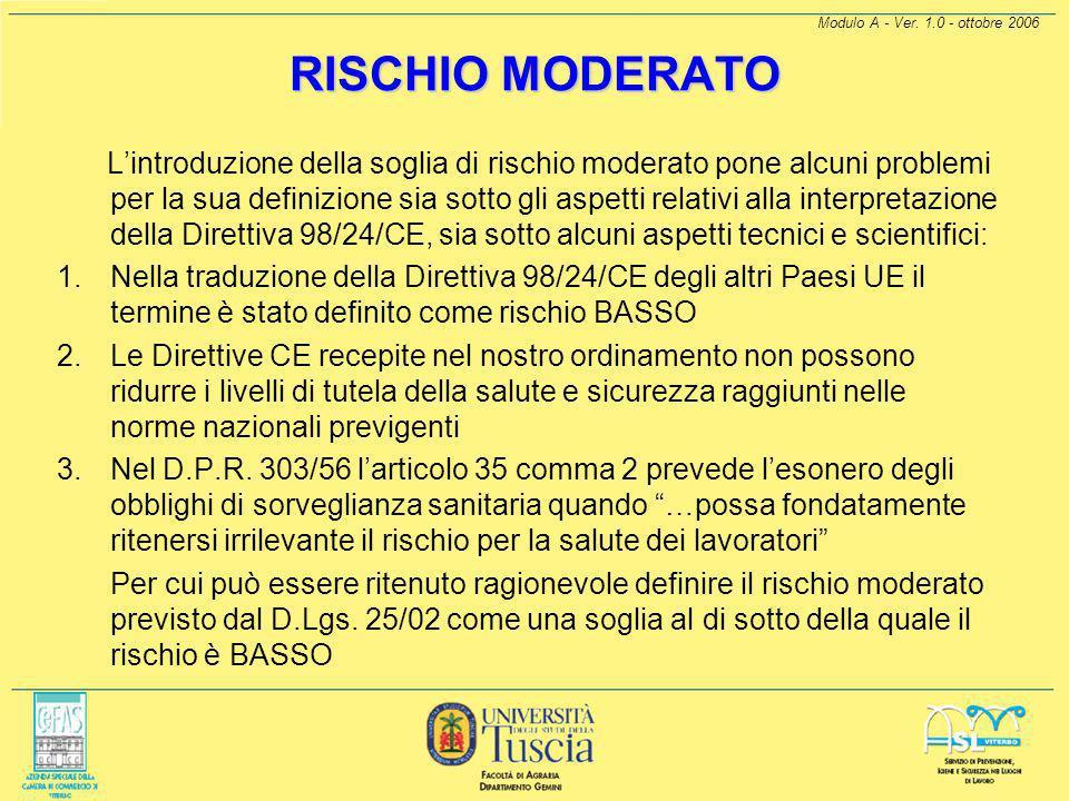 RISCHIO MODERATO Modulo A - Ver. 1.0 - ottobre 2006.