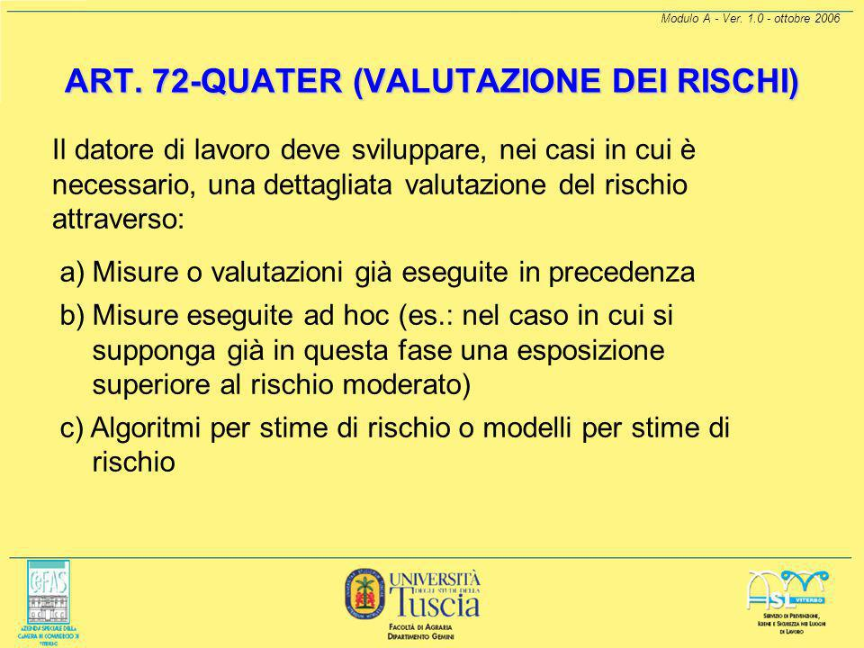 ART. 72-QUATER (VALUTAZIONE DEI RISCHI)