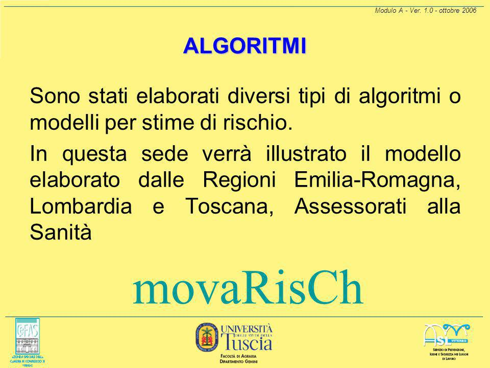 Modulo A - Ver. 1.0 - ottobre 2006 ALGORITMI. Sono stati elaborati diversi tipi di algoritmi o modelli per stime di rischio.