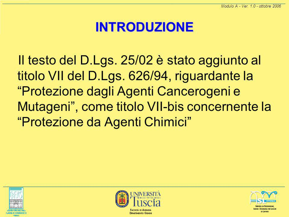 Modulo A - Ver. 1.0 - ottobre 2006 INTRODUZIONE.