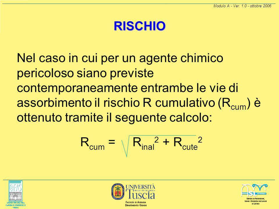 Modulo A - Ver. 1.0 - ottobre 2006 RISCHIO.