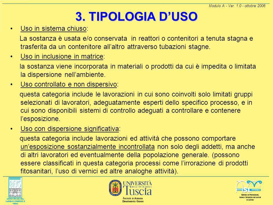 3. TIPOLOGIA D'USO Uso in sistema chiuso: