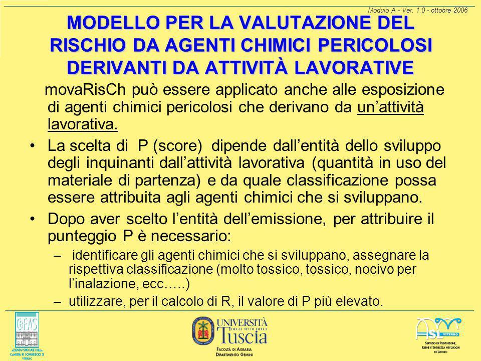 Modulo A - Ver. 1.0 - ottobre 2006 MODELLO PER LA VALUTAZIONE DEL RISCHIO DA AGENTI CHIMICI PERICOLOSI DERIVANTI DA ATTIVITÀ LAVORATIVE.