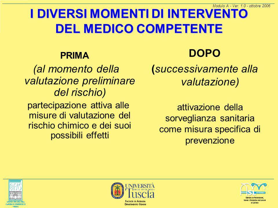 I DIVERSI MOMENTI DI INTERVENTO DEL MEDICO COMPETENTE