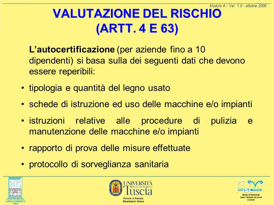 VALUTAZIONE DEL RISCHIO (ARTT. 4 E 63)