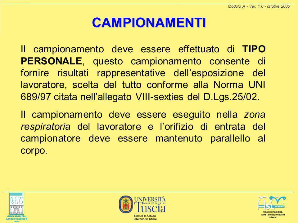 CAMPIONAMENTI Modulo A - Ver. 1.0 - ottobre 2006.