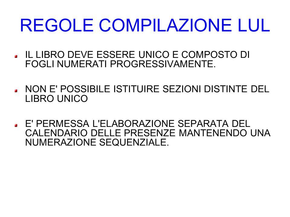 REGOLE COMPILAZIONE LUL