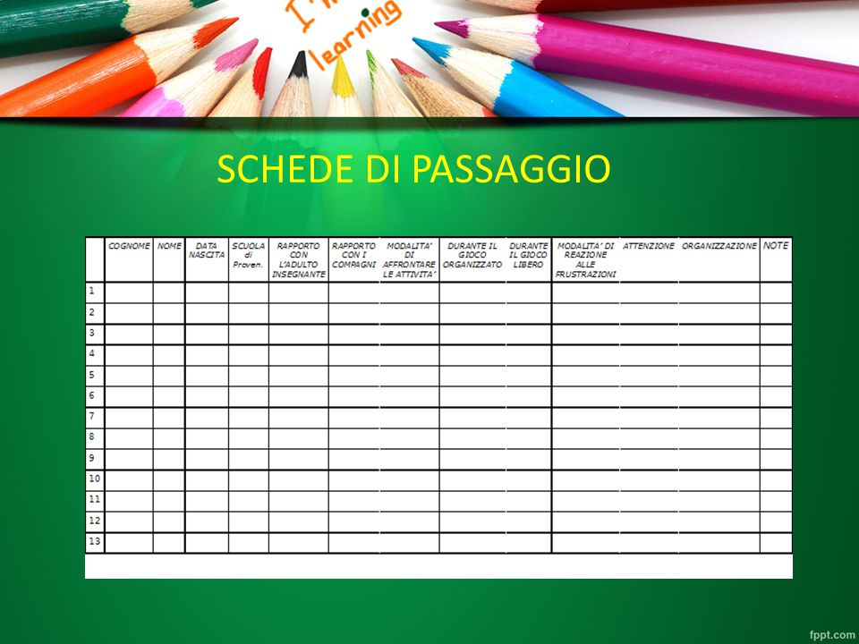 SCHEDE DI PASSAGGIO SCHEDE DI PASSAGGIO