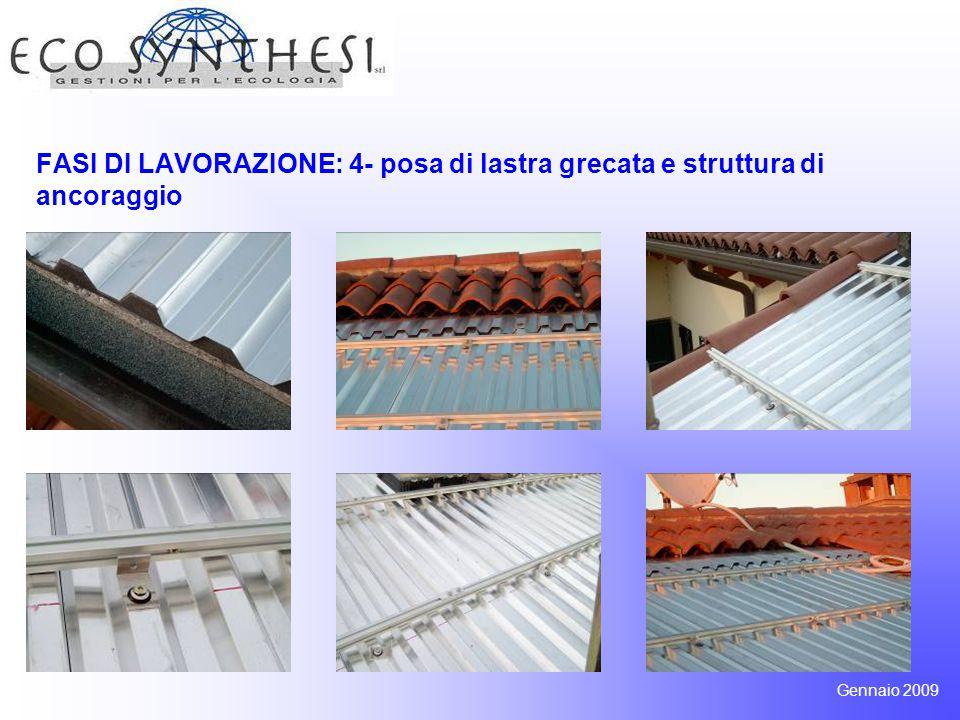 FASI DI LAVORAZIONE: 4- posa di lastra grecata e struttura di ancoraggio