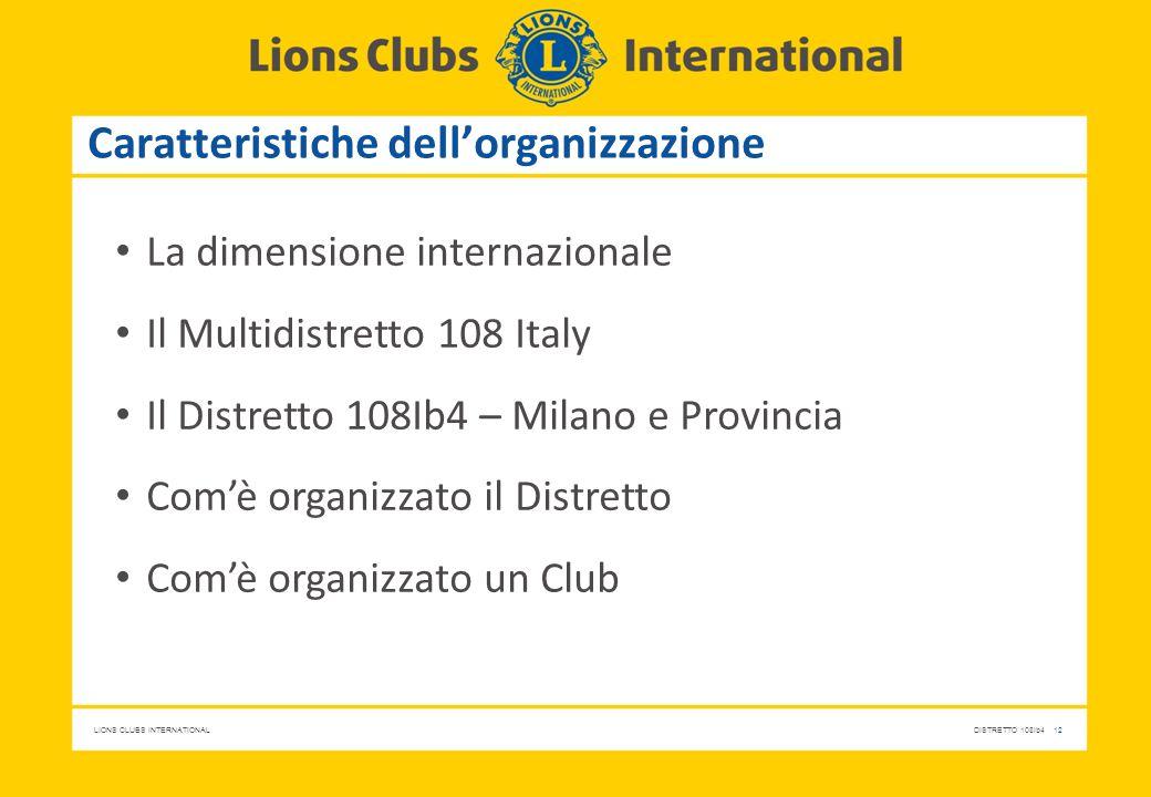 Caratteristiche dell'organizzazione