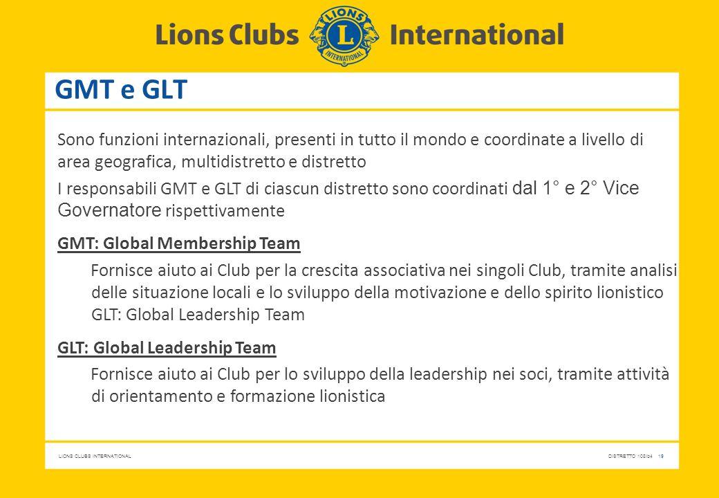 GMT e GLT Sono funzioni internazionali, presenti in tutto il mondo e coordinate a livello di area geografica, multidistretto e distretto.