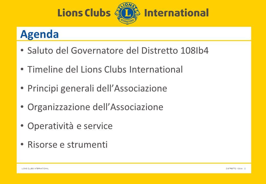 Agenda Saluto del Governatore del Distretto 108Ib4