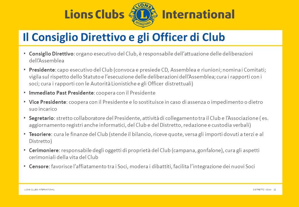 Il Consiglio Direttivo e gli Officer di Club