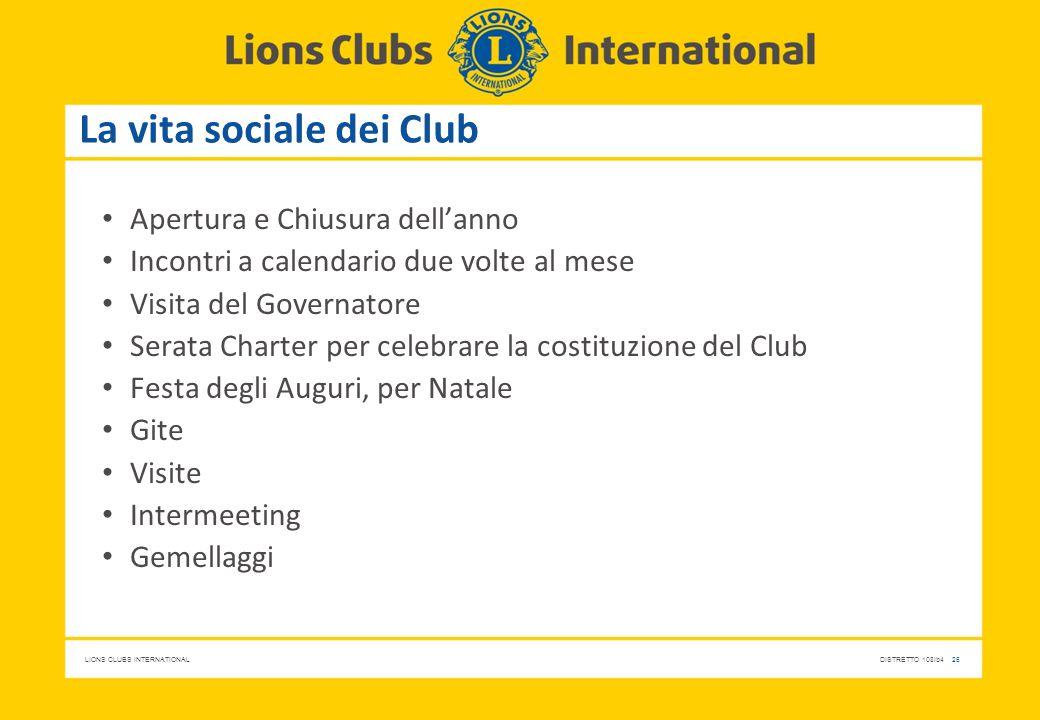 La vita sociale dei Club
