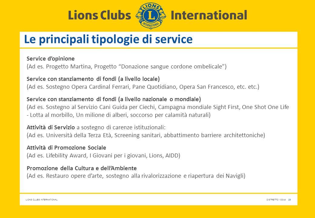 Le principali tipologie di service