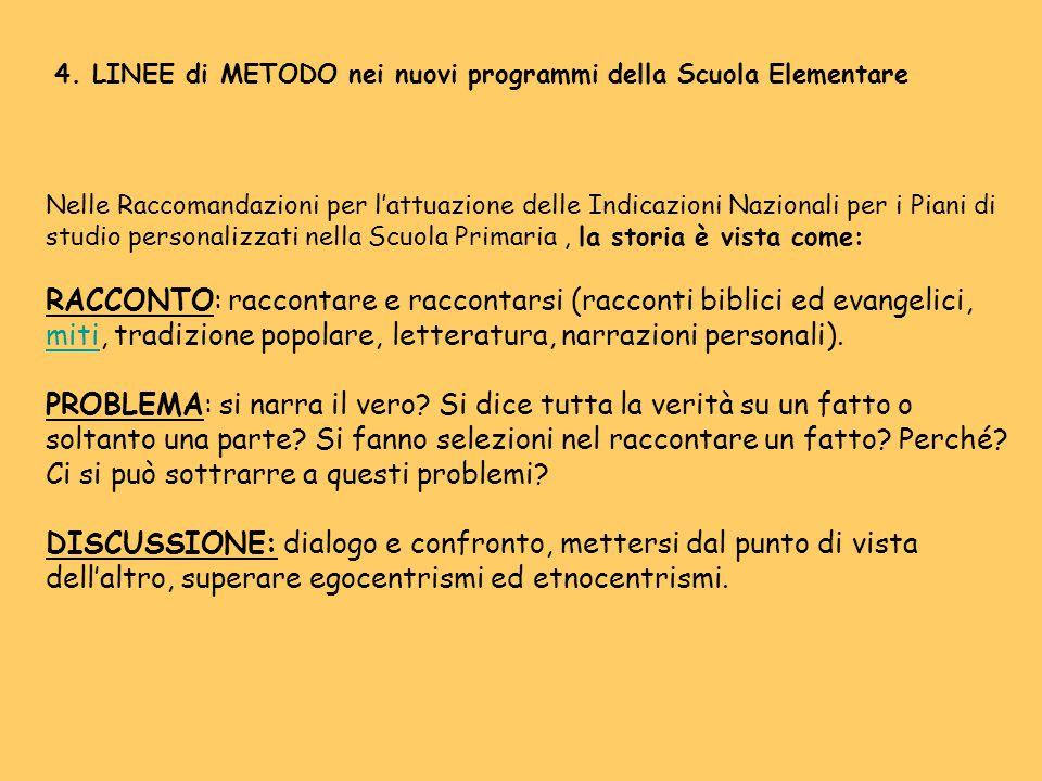 4. LINEE di METODO nei nuovi programmi della Scuola Elementare