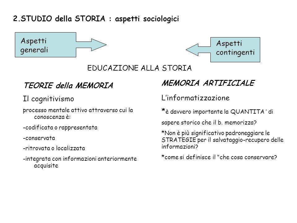2.STUDIO della STORIA : aspetti sociologici