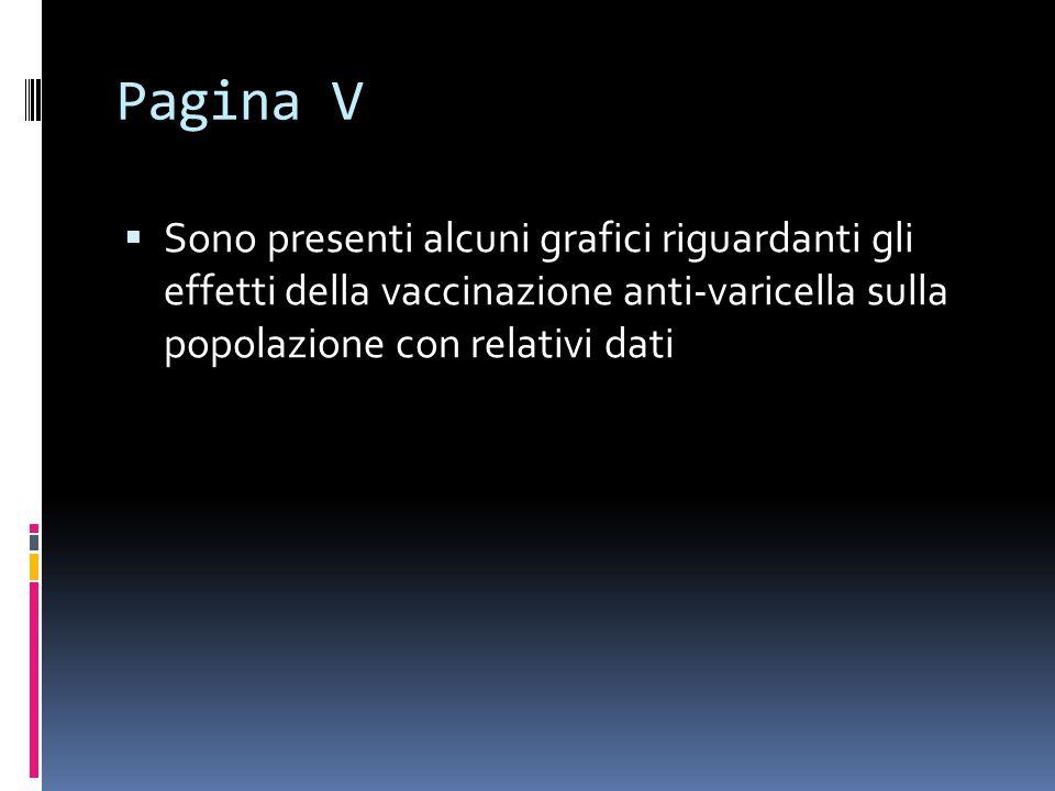 Pagina V Sono presenti alcuni grafici riguardanti gli effetti della vaccinazione anti-varicella sulla popolazione con relativi dati.