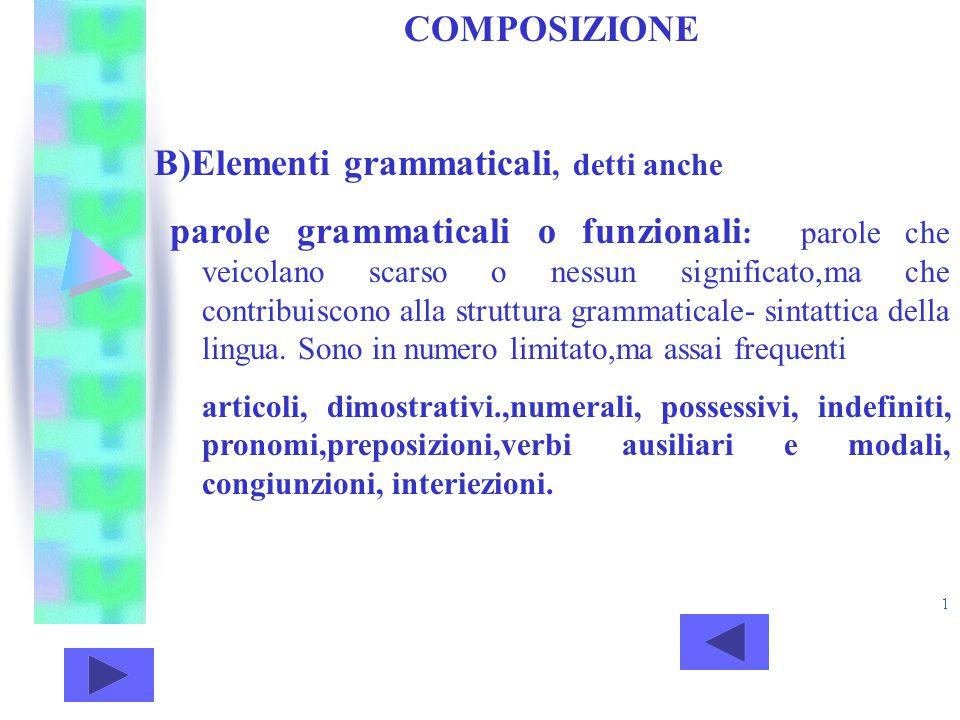 B)Elementi grammaticali, detti anche