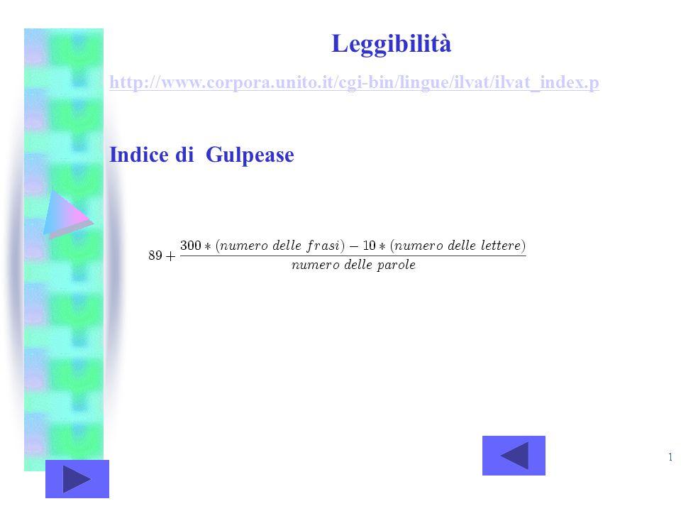 Leggibilità Indice di Gulpease