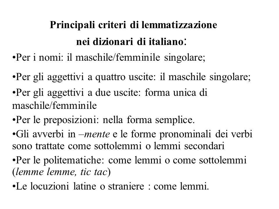 Principali criteri di lemmatizzazione nei dizionari di italiano: