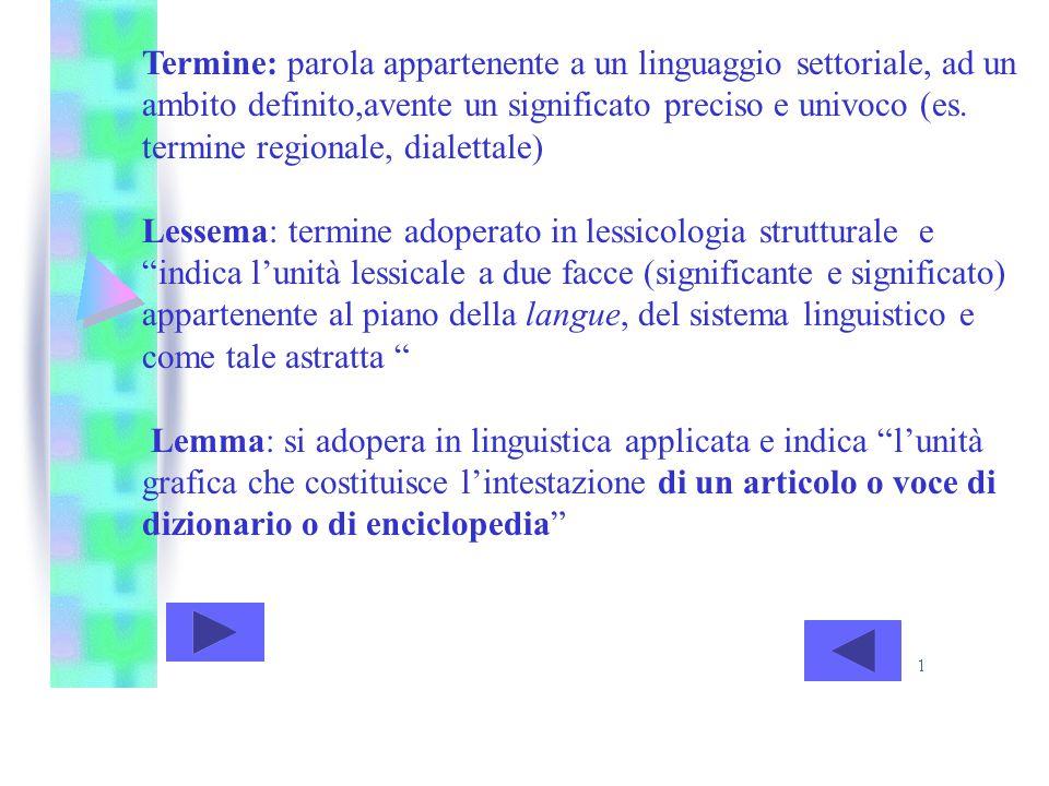 Termine: parola appartenente a un linguaggio settoriale, ad un ambito definito,avente un significato preciso e univoco (es. termine regionale, dialettale)