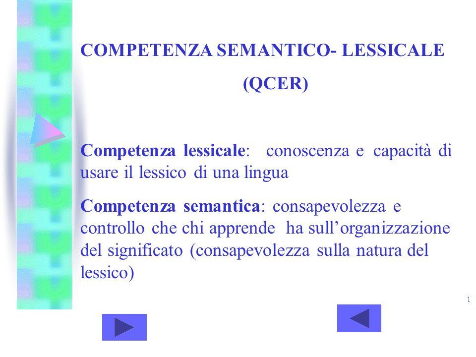 COMPETENZA SEMANTICO- LESSICALE