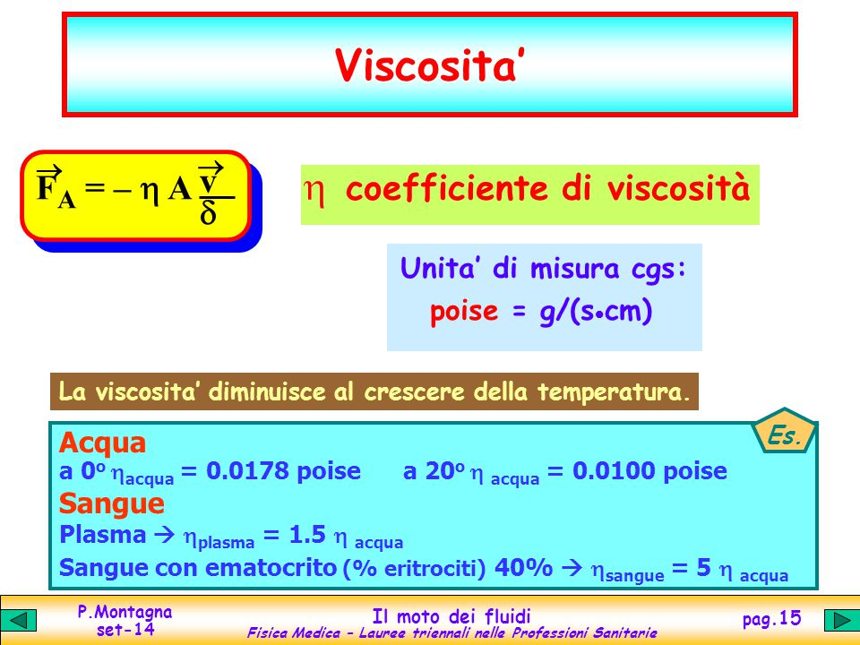 Viscosita' h coefficiente di viscosità v FA = – h A d
