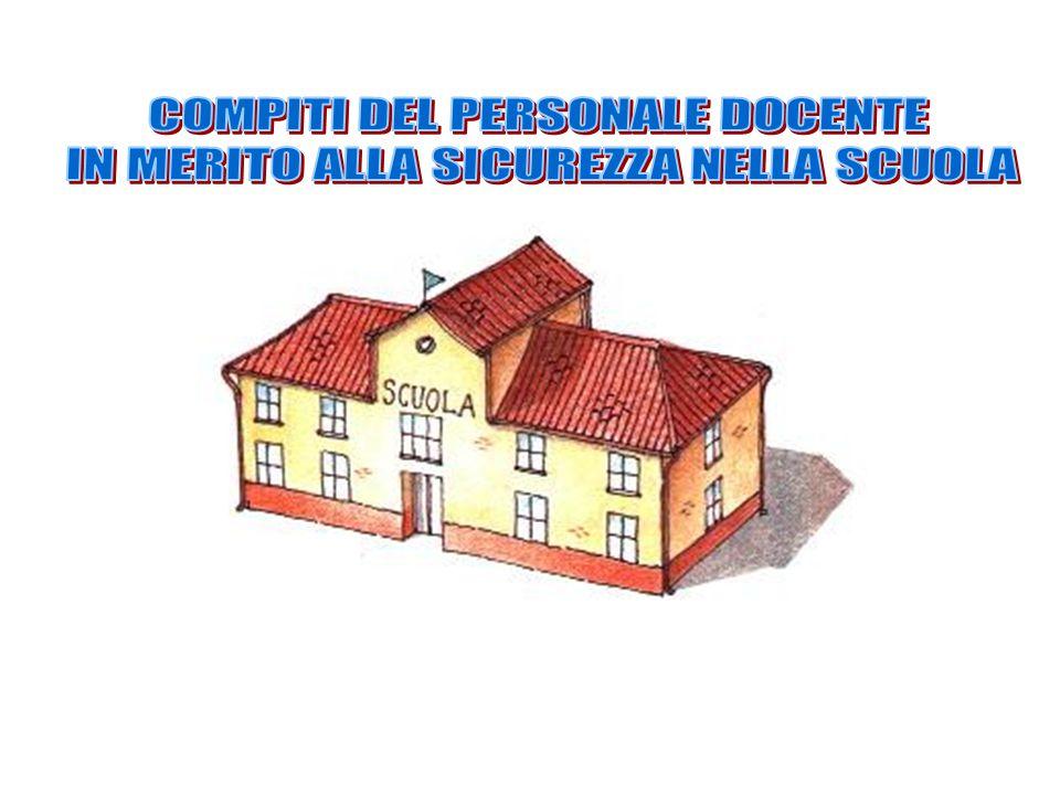 COMPITI DEL PERSONALE DOCENTE IN MERITO ALLA SICUREZZA NELLA SCUOLA