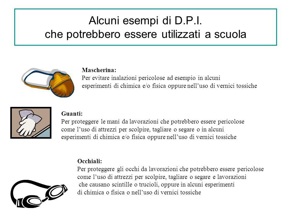 Alcuni esempi di D.P.I. che potrebbero essere utilizzati a scuola