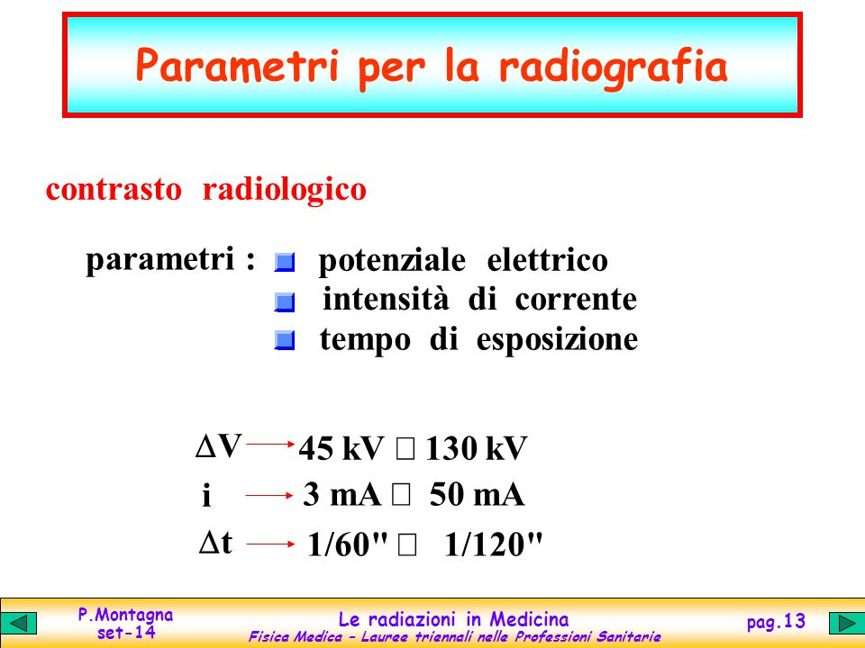 Parametri per la radiografia