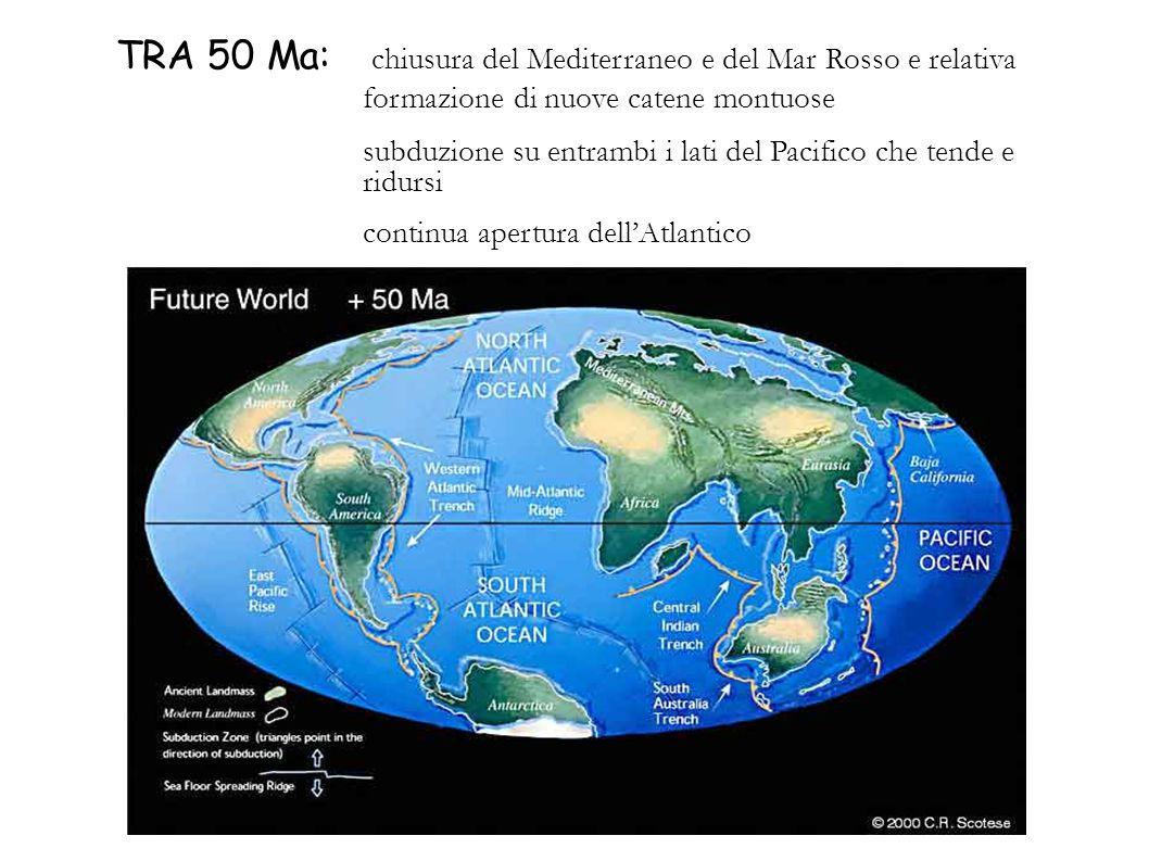 TRA 50 Ma: chiusura del Mediterraneo e del Mar Rosso e relativa formazione di nuove catene montuose