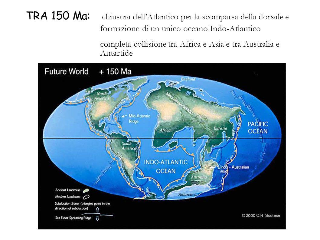 TRA 150 Ma: chiusura dell'Atlantico per la scomparsa della dorsale e formazione di un unico oceano Indo-Atlantico