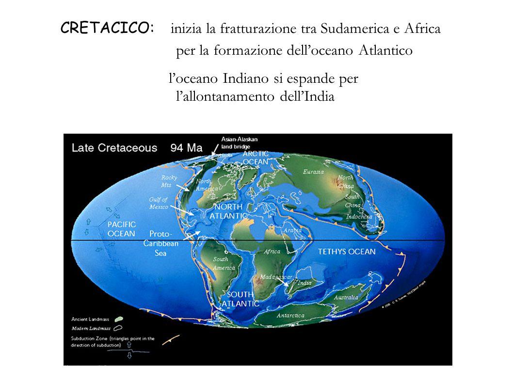 CRETACICO: inizia la fratturazione tra Sudamerica e Africa per la formazione dell'oceano Atlantico