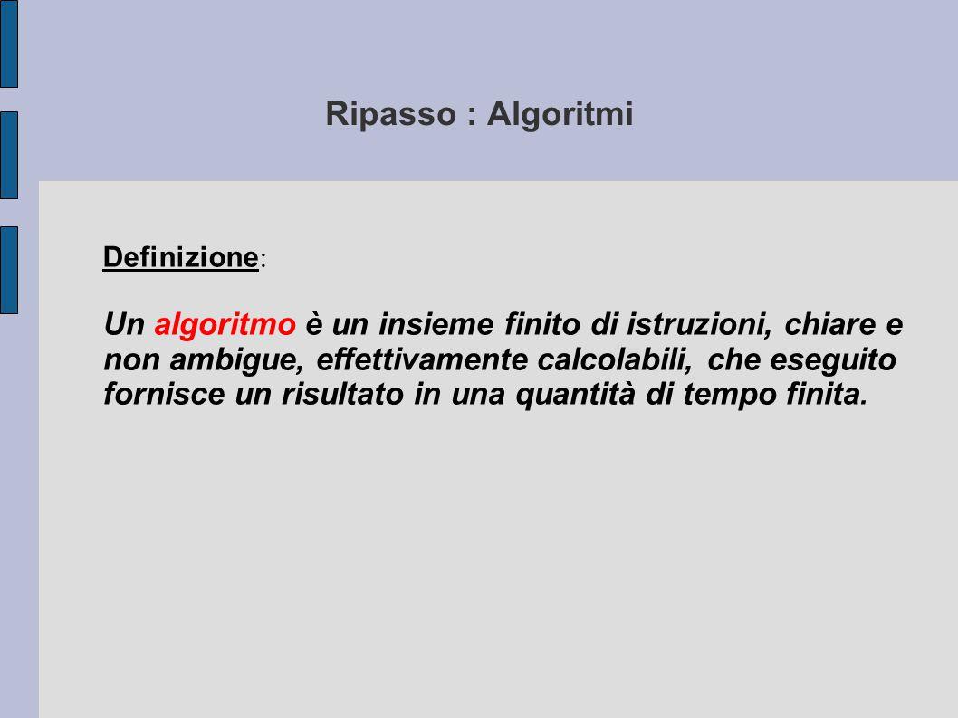 Ripasso : Algoritmi Definizione: